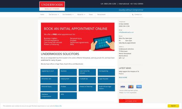 Underwoods Solicitors Homepage
